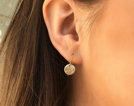 Hammered Disc Earrings, Gold - Halo Collection