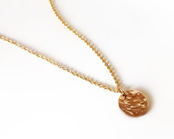 Hammered Mini Disc Necklace, Gold - Halo Collection