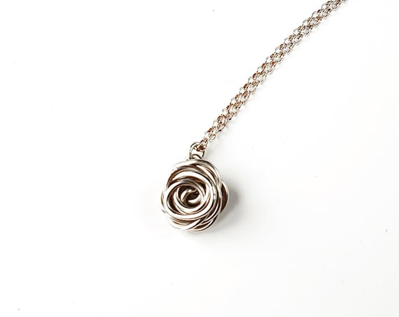 Rose Necklace, Sterling Silver - Rose Collection