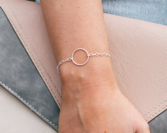 Circle Bracelet (Large), Sterling Silver - Halo Collection