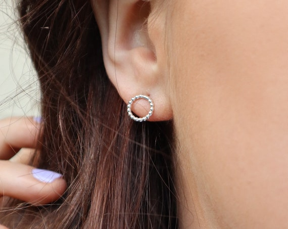 Beaded Circle Stud Earrings, Sterling Silver - Halo Collection