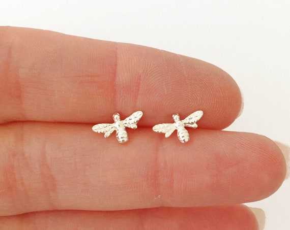 Bee Earrings, Sterling Silver - Nature Collection
