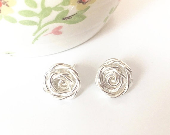 Rose Earrings, Sterling Silver - Rose Collection