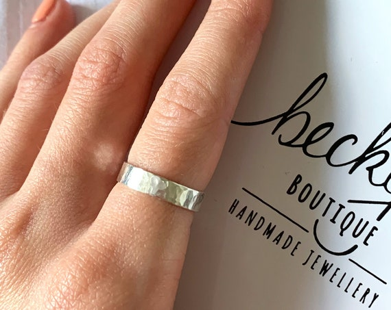 Wide Hammered Band, Sterling Silver