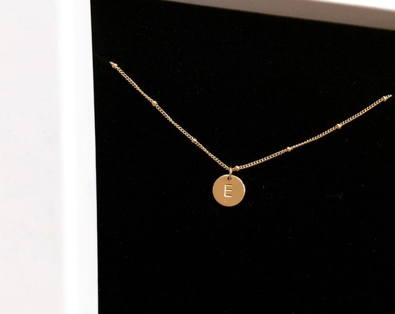 Personalised Mini Disc Necklace, Gold - Halo Collection