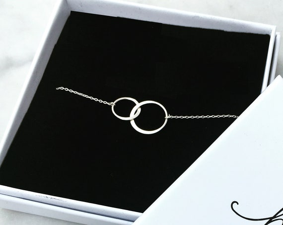 Interlocking Circles Halo Necklace, Sterling Silver - Karma Collection