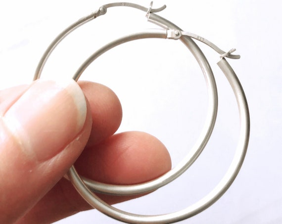 Medium Hoop Earrings, Sterling Silver