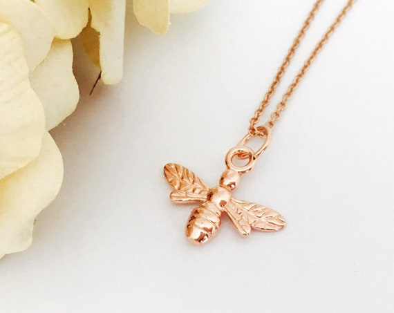 Bee Necklace, Rose Gold - Nature Collection