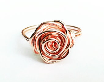 Rose Gold Rose Ring, Rose Gold Ring, Flower Ring, Rose Shaped Ring, Statement Ring, Unique Ring, Best Friend Gift, Feminine Jewellery