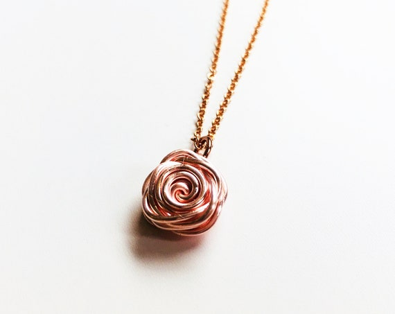Rose Necklace, Rose Gold - Rose Collection