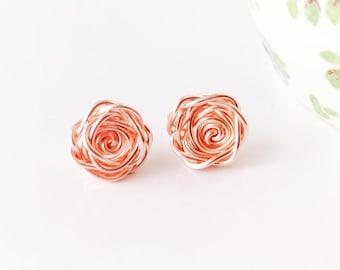 Rose Gold Earrings, Rose Earrings, Rose Studs, Rose Gold Flower Earrings, Bridesmaid Earrings, Wedding Jewellery, Birthday Gift for Her
