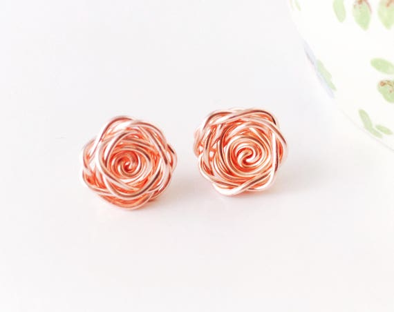 Rose Earrings, Rose Gold - Rose Collection