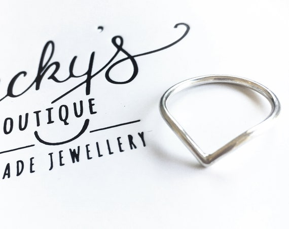 Wishbone / Chevron Ring, Sterling Silver - Karma Collection