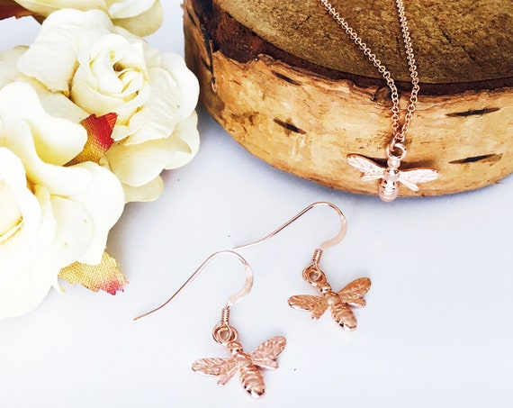 Bee Jewellery Gift Set, Rose Gold - Nature Collection