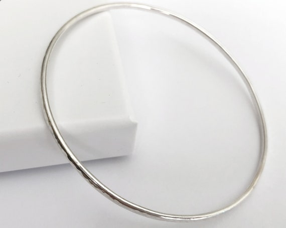 Slim Hammered Bangle, Sterling Silver - Capsule Collection