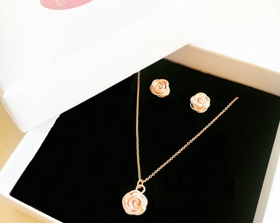 Rose Necklace & Earrings Set, Rose Gold - Rose Collection