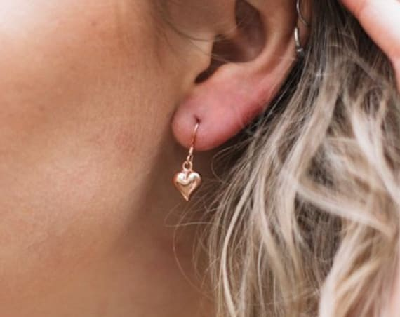 Heart Drop Earrings, Rose Gold - Karma Collection