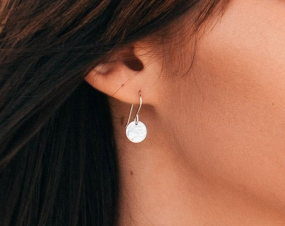 Hammered Disc Earrings, Sterling Silver - Halo Collection