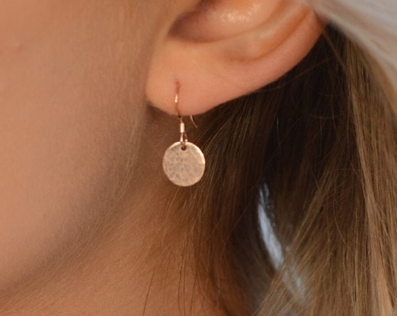 Hammered Disc Earrings, Rose Gold - Halo Collection
