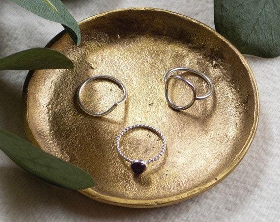 Brushed Gold Shallow Ring & Trinket Dish