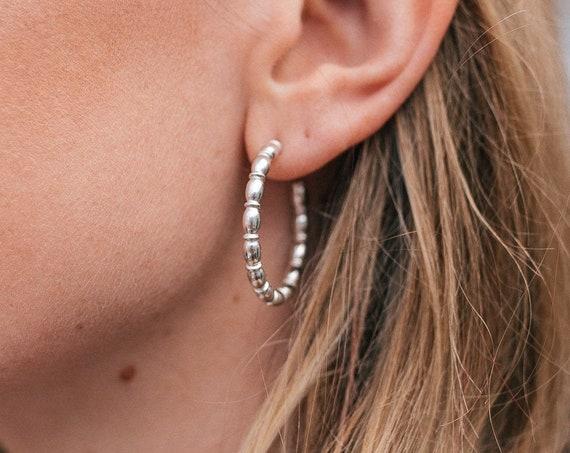 Beaded Maxi Hoop Earrings, Sterling Silver