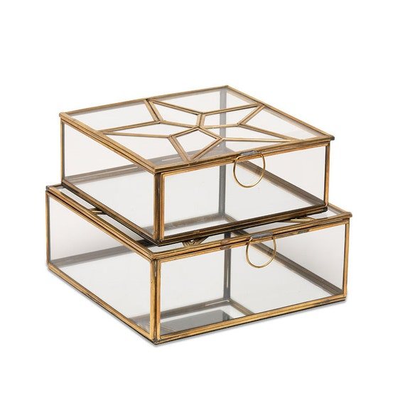 Antique Brass Star Jewellery Storage Box