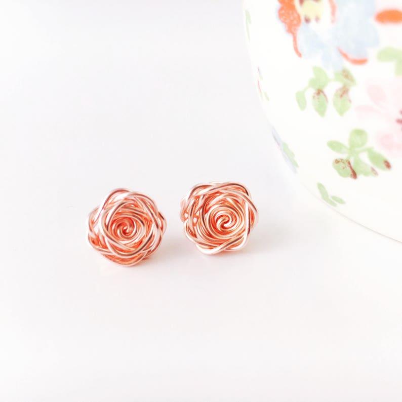 Rose Gold Earrings Rose Earrings Rose Studs Rose Gold image 0
