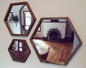 Hexagon Mirror with Walnut or Cherry Wood Frame
