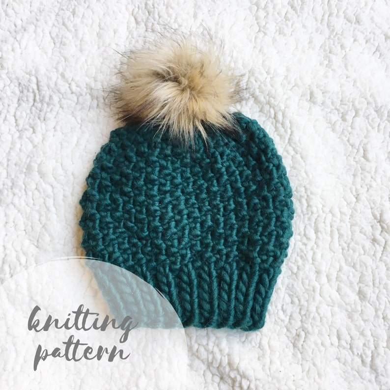 Knit hat pattern, knitting pattern, knitted beanie, chunky knit hat, pom  pom hat, knit beanie pattern, chunky knit pattern