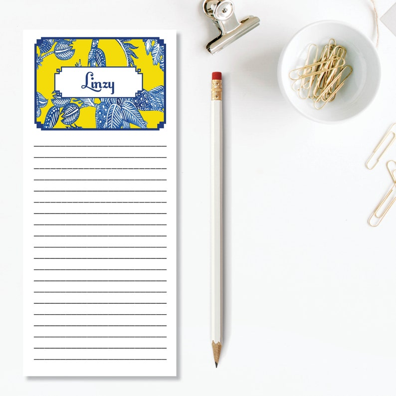 Personalized Memo Pad Yellow Batik Personalized List Pad Personalized Gift Personalized Girlfriend Gift Grocery List Name Notepad