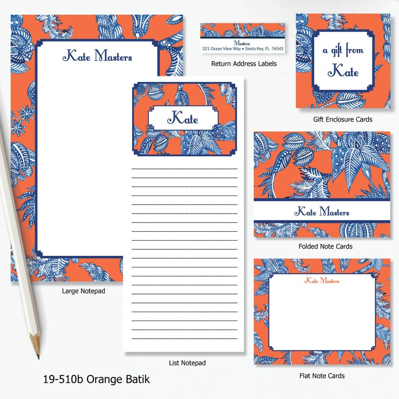 Thank you note Folded Note Cards Orange Batik Collection Personalized Personalized Folded Notecards Printed notecard