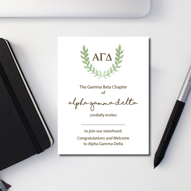 Alpha Gamma Delta, Alpha Gam, Sorority Note Card, Bid Day Card, Laurel