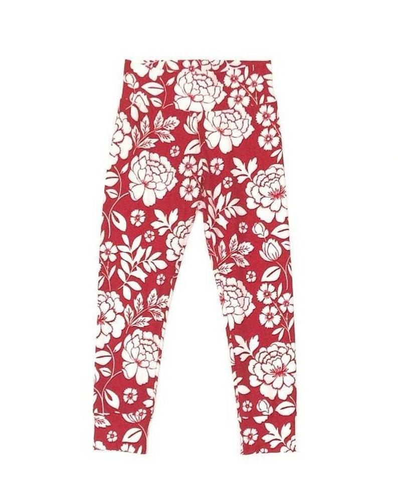 526f325220dfb6 White Floral on Red or Blue Leggings Preemie Leggings | Etsy