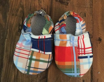 Soft Sole Baby Shoes Slippers Plaid Boy Girl Booties Crib Shoes