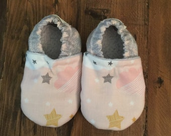 Soft Sole Baby Shoes Slippers Pink Clouds Boy Girl Booties Crib Shoes