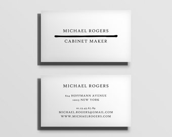 printable business card template, fully customized calling card template, business stationery, minimal typographic business card [05]
