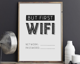 Wifi Password Personalised Wall Art Print Poster Decor Typography White /& Grey