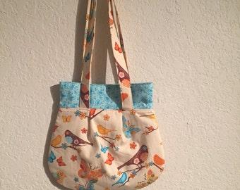 Handmade Shoulder Fabric Bag Birds Floral