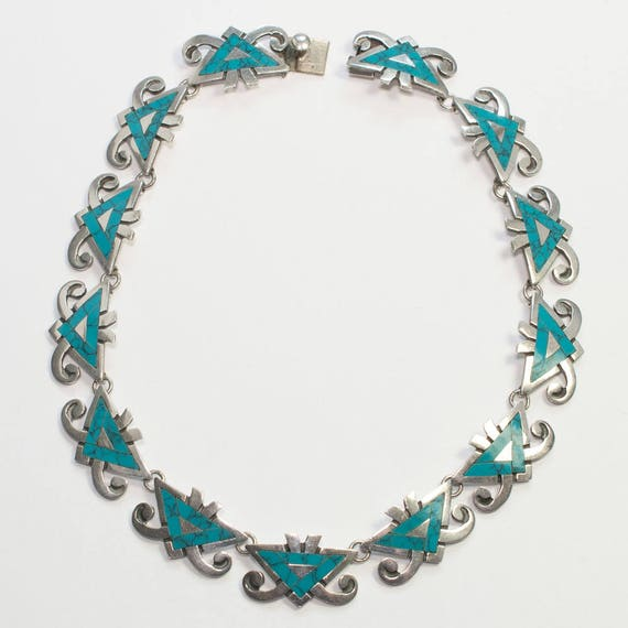 Vintage MIGUEL Mexican Silver and Turquoise Neckla