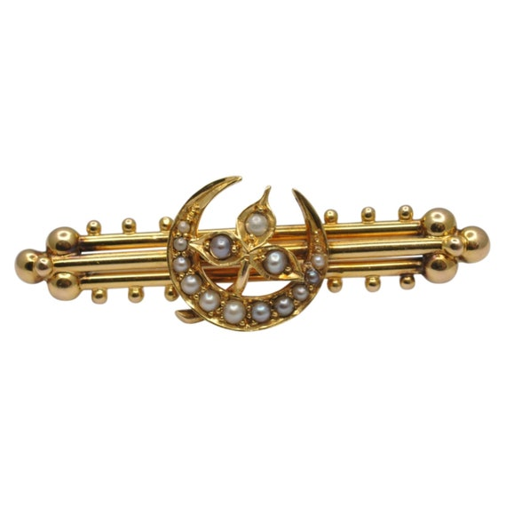 Victorian 15ct Gold Pearl Crescent Brooch