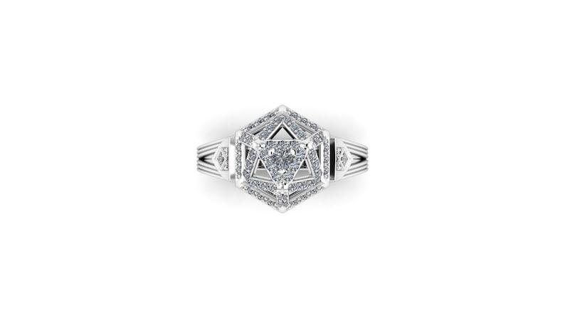 DIAMOND D20  Shield Maiden: RPG Inspired Engagement Ring image 0