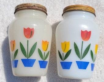 Fire King 1950's Tulip Salt & Pepper Shakers Retro Kitchen Decor