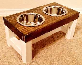 Elevated dog bowl, Small dog feeder, Dog bowl, Dog lover gift, Dog bowls, Dog bowl stand, Pet furniture, Farmhouse decor, Raised dog bowl