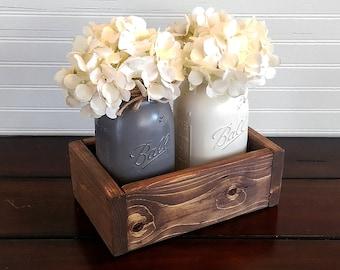 Wood Planter Box, Mason Jar Centerpiece, Rustic Wedding Decor, Rustic Wedding Centerpiece, Rustic Home Decor, Mason Jar Decor, Rustic Decor