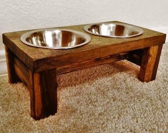 Cat Bowl Feeder - Farmhouse Style - Rustic Cat Bowl Stand - Raised Cat Bowl Feeder - Elevated Cat Feeder -  Antique Cat feeder