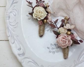 1934346208c74 One Blush pink gold boutonniere Wedding accessories Men s boutonniere Groom  Groomsmen buttonhole Woodland wedding Fiance flower