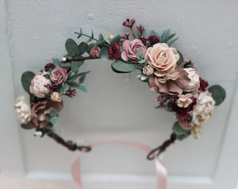 Pink Flower Crown Etsy