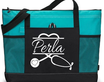 Bag with name, Nurse Stethoscope Heart Bag personalized with Name, Heavy  tote bag, zippered, Heavy canvas, Carryall, Personalized Bag 78e66029ff