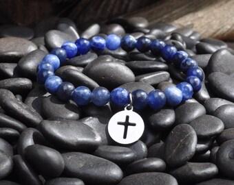 Christian Beaded Bracelet, Sodalite Gemstone Beads, Cross Charm Bracelet, Christian Jewelry, Stainless Steel Cross, Faith Bracelet