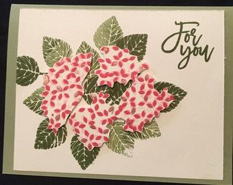 Handmade Stampin up Hydrangea card